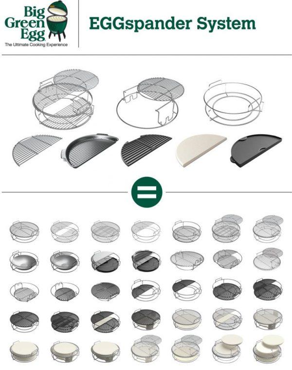 Набор многоуровневых стальных решеток для гриля L , 5 частей Большое Зеленое Яйцо 1