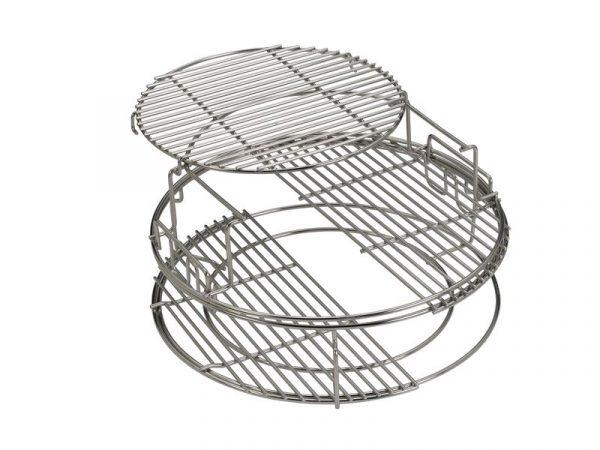 Набор многоуровневых стальных решеток для гриля L , 5 частей Большое Зеленое Яйцо