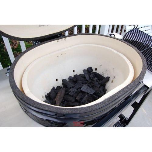 Керамический гриль Примо-Oval-Large-300 загрузка угля