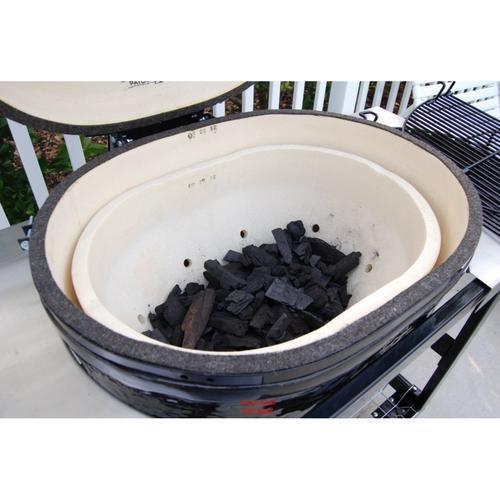 Керамический гриль Примо-Oval-XL 400 загрузка угля