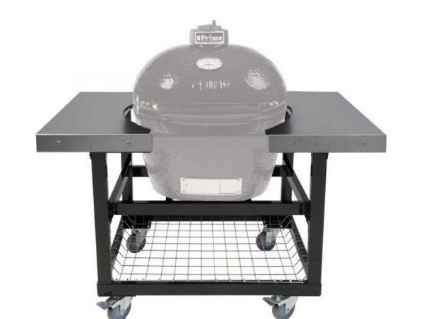 Металлический стол-тележка со столешницами из нержавеющей стали для Примо Овал 200 (JR)