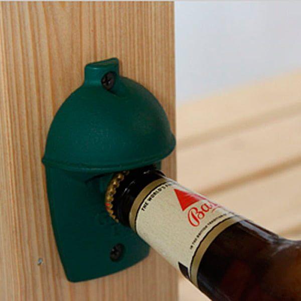 Открывалка для бутылок, зелёная чугунная настенная, в виде гриля Большое Зеленое Яйцо 1