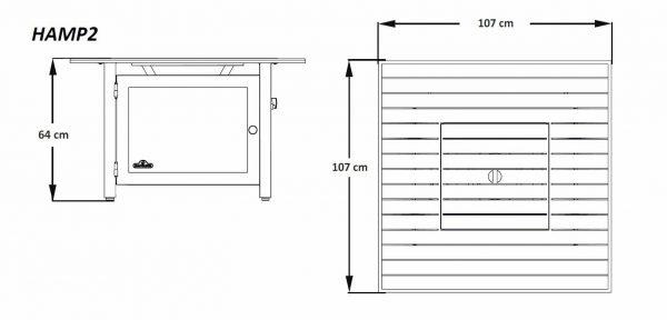 """Стол-камин газовый, модель Hampton """"107х107"""" размеры"""