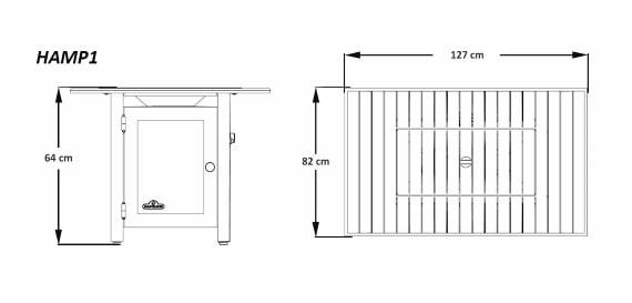 """Стол-камин газовый, модель Hampton """"127х82"""" размеры"""