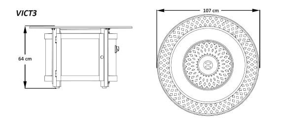 """Стол-камин газовый, модель Викториан """"Ø=107"""" размеры"""