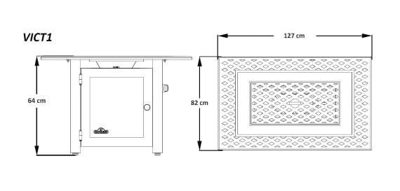 """Стол-камин газовый, модель Викториан """"127х82"""" размеры"""