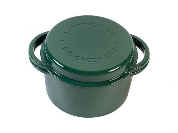 Жаровня чугунная круглая д/гриля, 4.0л, крышка, цвет зеленый Большое Зеленое Яйцо