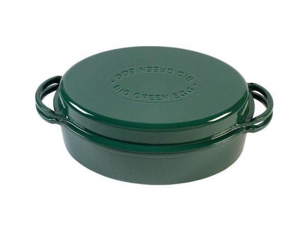 Жаровня чугунная овальная д/гриля, 5.2л, крышка, цвет зеленый Большое Зеленое Яйцо