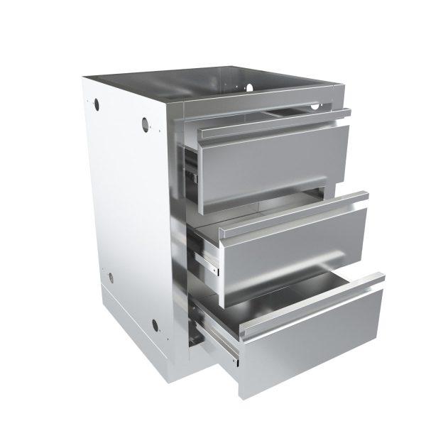 Тумба модульной гриль кухни с 3-мя выдвижными ящиками