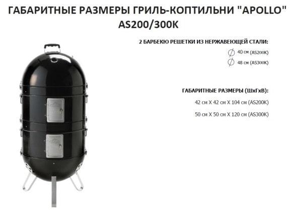 Угольный гриль коптильня НаполеонAPOLLO-200 размеры