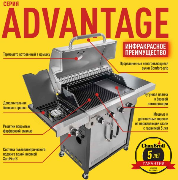 Газовый гриль Char-Broil Advantage 445 S, преимущества