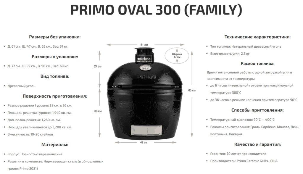 Керамический гриль Primo Oval 300 FAMILY (L) размеры и характеристики