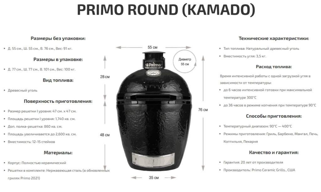 Керамический Угольный Гриль Primo Round Large All in One размеры и характеристики